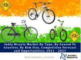 India Bicycle Market By Type (Roadster, Sports and Kids), By Geared Vs Gearless, By Rim Size (26 Inch, 20 Inch, 28 Inch, 24 Inch, 18 Inch, 16 Inch, 29 Inch, 14 Inch, 12 Inch, 27.5 Inch and Others), Competition Forecast and Opportunities,