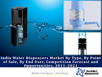 India Water Dispensers Market By Type (Bottled, Top Mounted and Upright), By Point of Sale, By End User (Residential, Commercial and Industrial), Competition Forecast and Opportunities, 2011–2021