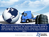 Global Commercial Vehicle Tire Market By Vehicle Type (LCV and M&HCV), By Demand Category (OEM Vs Replacement, By Region (APAC, Americas, Europe & CIS and MEA), Competition Forecast & Opportunities, 2021