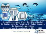 Global Residential Water Purifiers Market By Technology (UV, Media and Membrane), By Function (Point-of-Entry and Point-of-Use), By Sales Channel (Retail, Direct, Online, etc.), By Region, Competition Forecast and Opportunities, 2011 - 2021