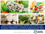 India Dietary Supplements Market by product type (Protein Supplements, Vitamins & minerals, Herbals, Probiotic, & Others), Forecast & Opportunities, 2021