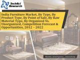 India Furniture Market, By Type (Home, Office & Institutional), By Product Type (Sofa, Bed, Wardrobe, Dining Table & Others), By Point of Sale, By Raw Material Type, By Organized Vs. Unorganized, Competition Forecast & Opportunities,