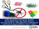 India Mosquito Repellents Market, By Product Type (Coils, Vaporizers, Mats, Spray, Creams & Others), By Point of Sale (Retail Outlets, Supermarket, Online Portal & Others), By Organized Vs. Unorganized, Competition Forecast & Opportunities,