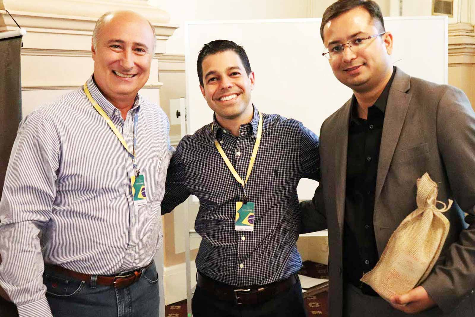 Mr. Karan Chechi with Paulo Santos (Brazilian Student Association) and GerminareAgro Official